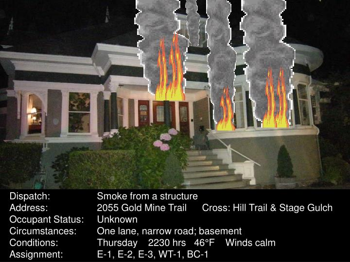 Dispatch:	Smoke from a structure