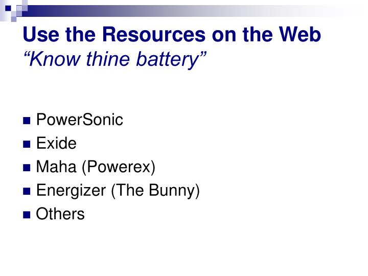 Use the Resources on the Web