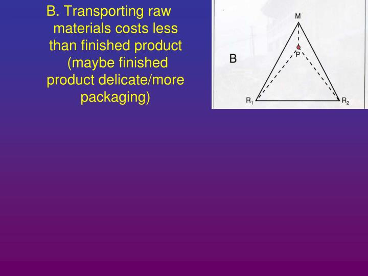 B. Transporting raw materials costs less than finished product