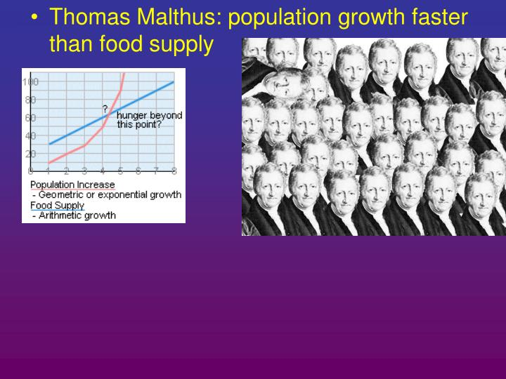 Thomas Malthus: population growth faster than food supply