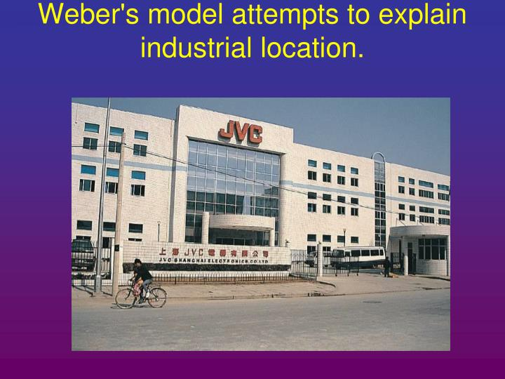 Weber's model attempts to explain industrial location.