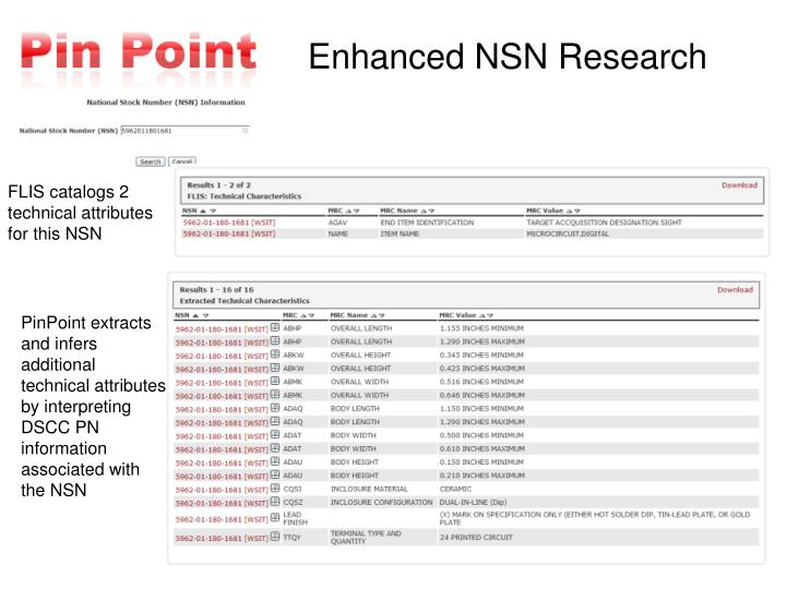 FLIS catalogs 2 technical attributes for this NSN