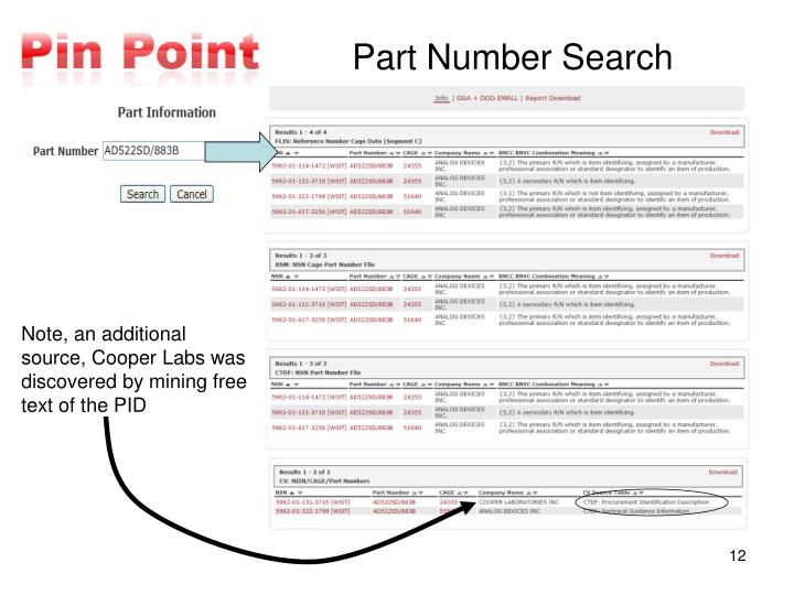 Note, an additional source, Cooper Labs was discovered by mining free text of the PID