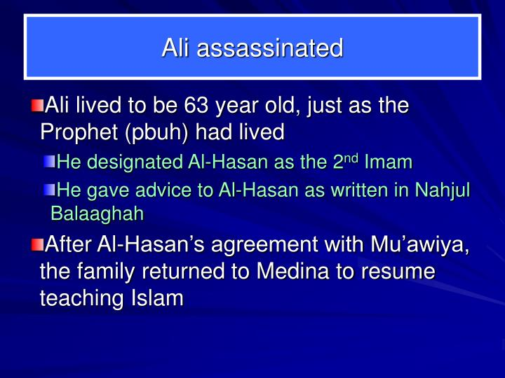 Ali assassinated