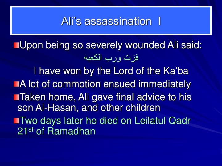 Ali's assassination  I