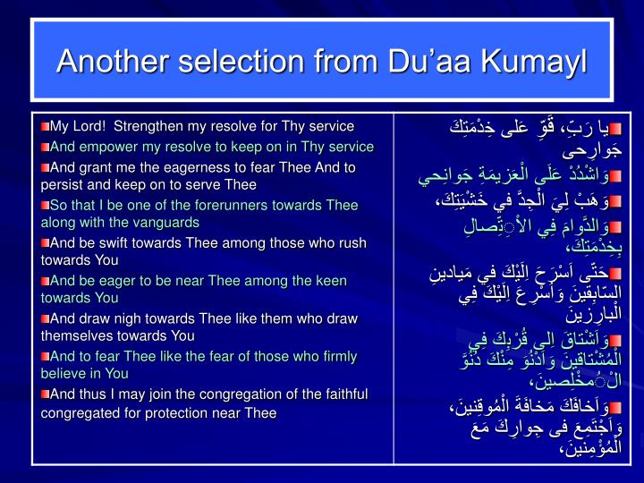 Another selection from Du'aa Kumayl