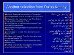 another selection from du aa kumayl