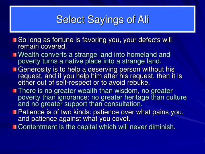 Select Sayings of Ali