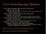 a few searching tips boolean