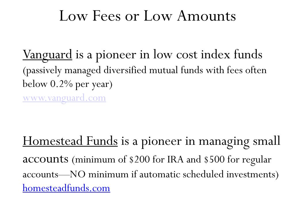 Low Fees or Low Amounts