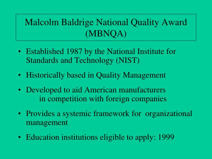 Malcolm baldrige national quality award mbnqa