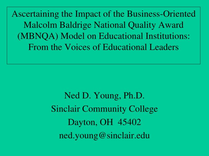 Ned d young ph d sinclair community college dayton oh 45402 ned young@sinclair edu