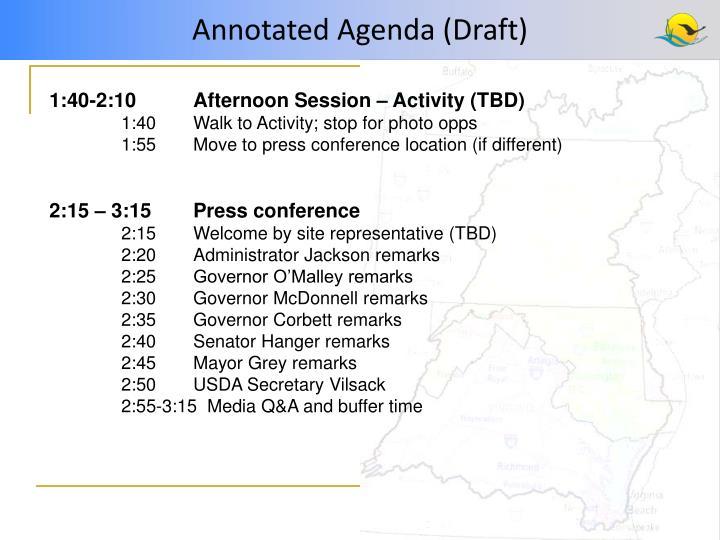 Annotated Agenda (Draft)