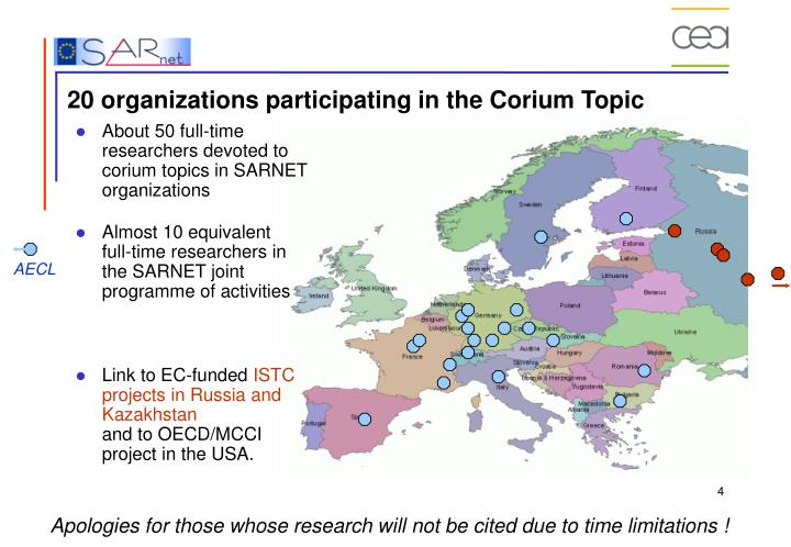 About 50 full-time researchers devoted to corium topics in SARNET organizations