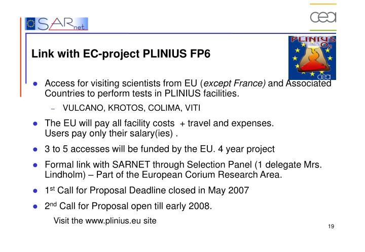Link with EC-project PLINIUS FP6
