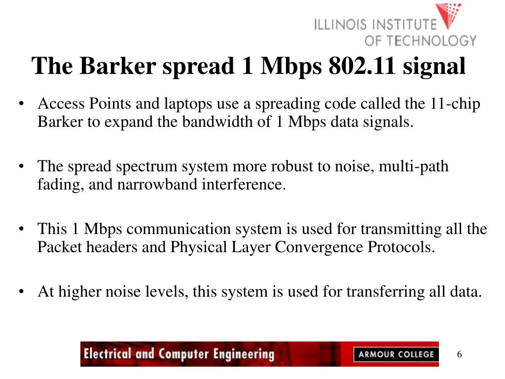 The Barker spread 1 Mbps 802.11 signal