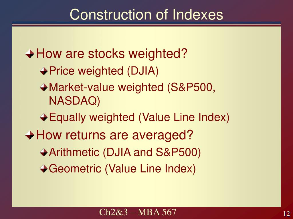 Construction of Indexes