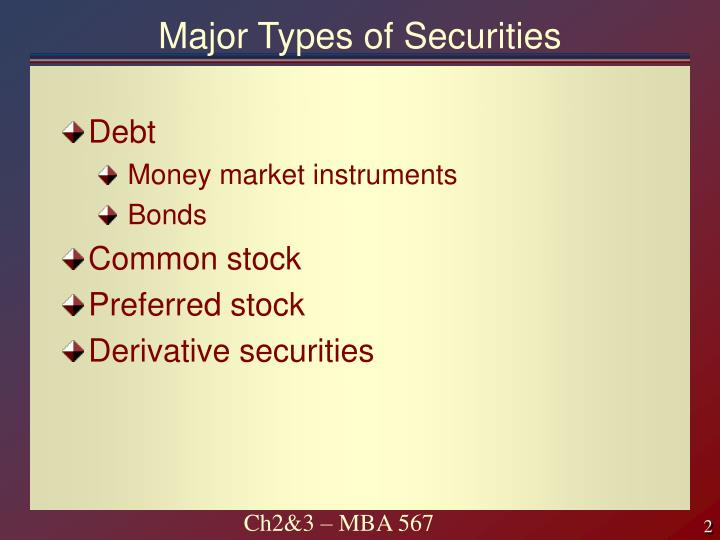 Major types of securities