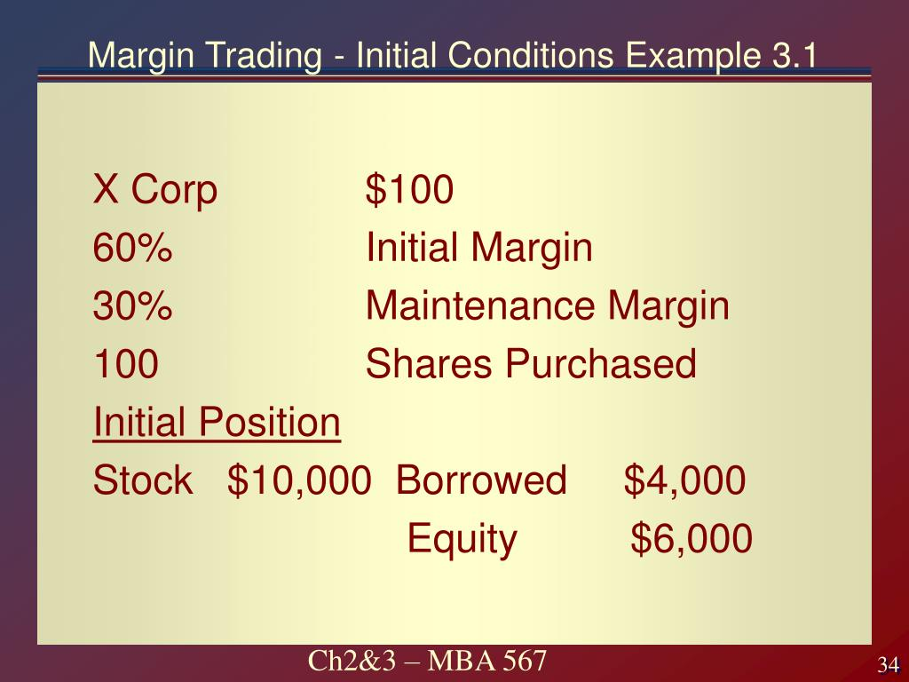 Margin Trading - Initial Conditions Example 3.1