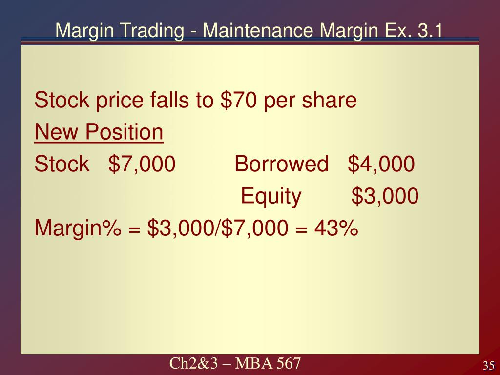 Margin Trading - Maintenance Margin Ex. 3.1