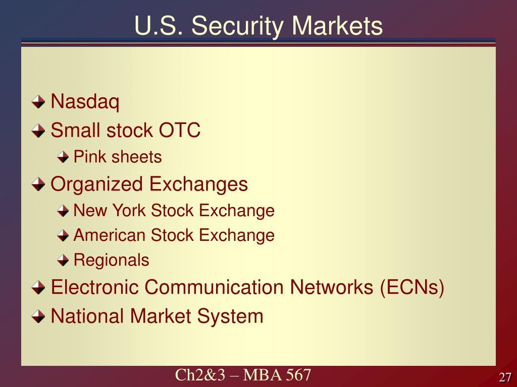 U.S. Security Markets