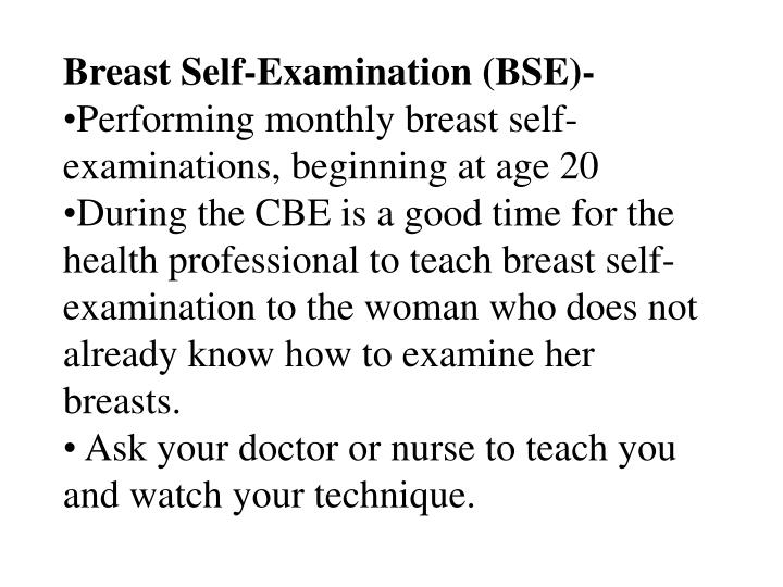 Breast Self-Examination (BSE)-