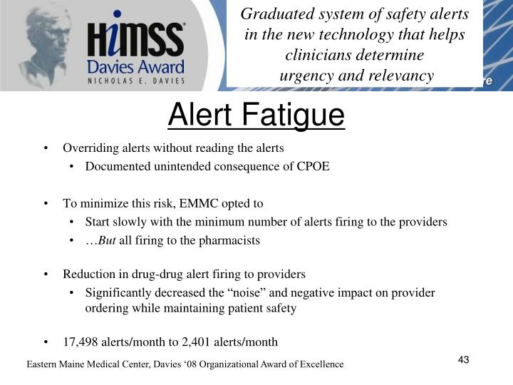 Graduated system of safety alerts in the new technology that helps clinicians determine