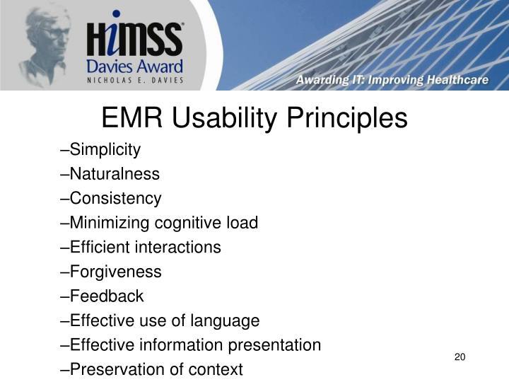EMR Usability Principles