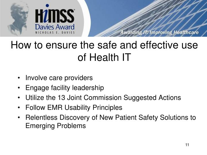 How to ensure the safe and effective use of Health IT