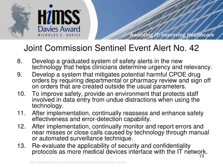 Joint Commission Sentinel Event Alert No. 42