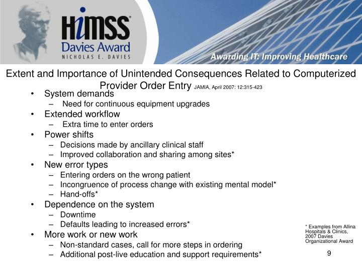 Extent and Importance of Unintended Consequences Related to Computerized Provider Order Entry