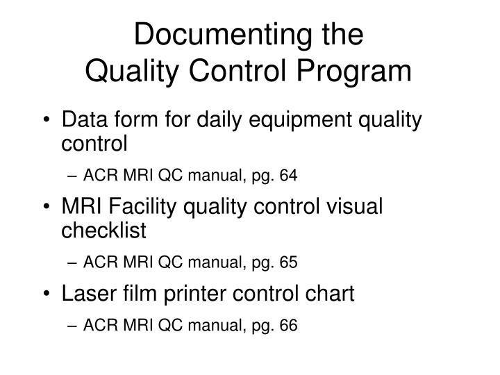 acr ct quality control manual
