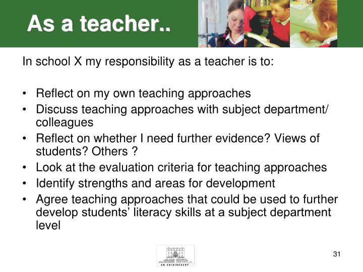 As a teacher..