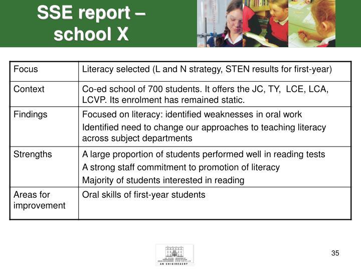 SSE report – school X