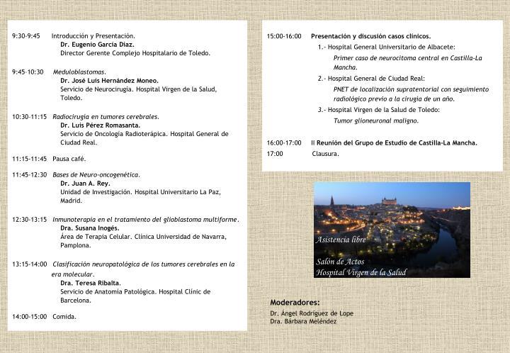9:30-9:45      Introducción y Presentación.