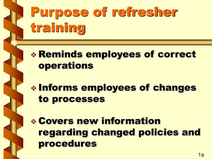 Purpose of refresher training