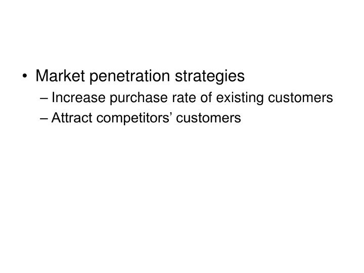 Market penetration strategies
