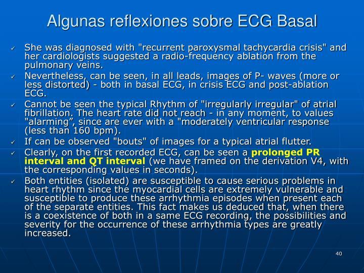 Algunas reflexiones sobre ECG Basal