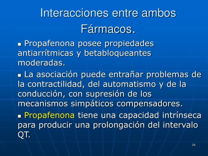 Interacciones entre ambos Fármacos