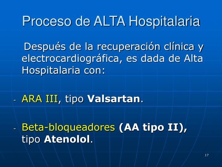 Proceso de ALTA Hospitalaria