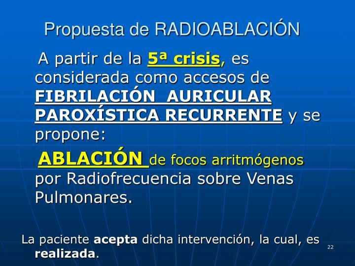Propuesta de RADIOABLACIÓN