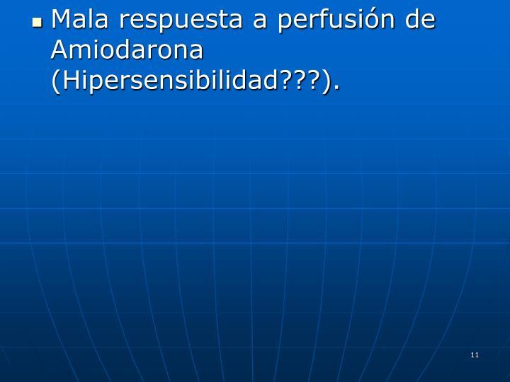 Mala respuesta a perfusión de Amiodarona (Hipersensibilidad???).