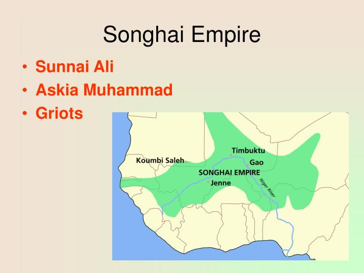 songhai empire E w bovill the niger and the songhai empire, african affairs, volume  xxv, issue xcviii, 1 january 1926, pages 138–146,.