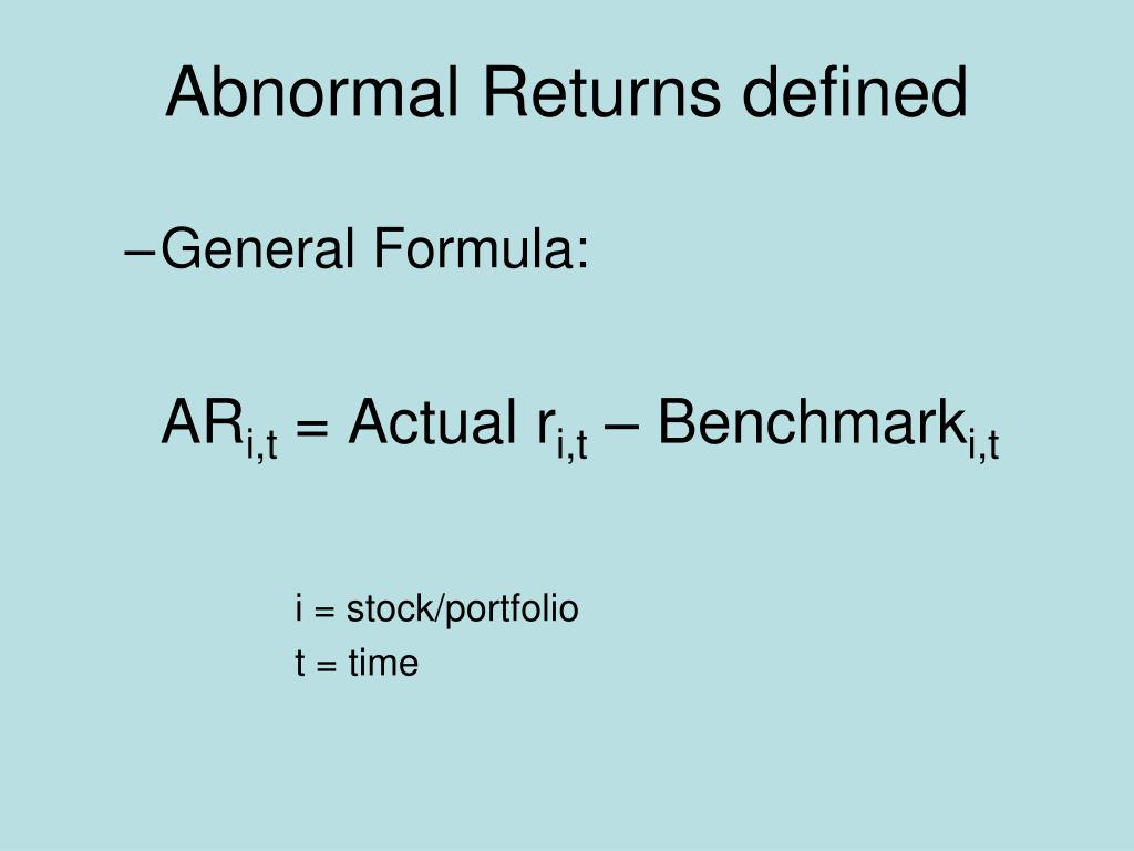 Abnormal Returns defined