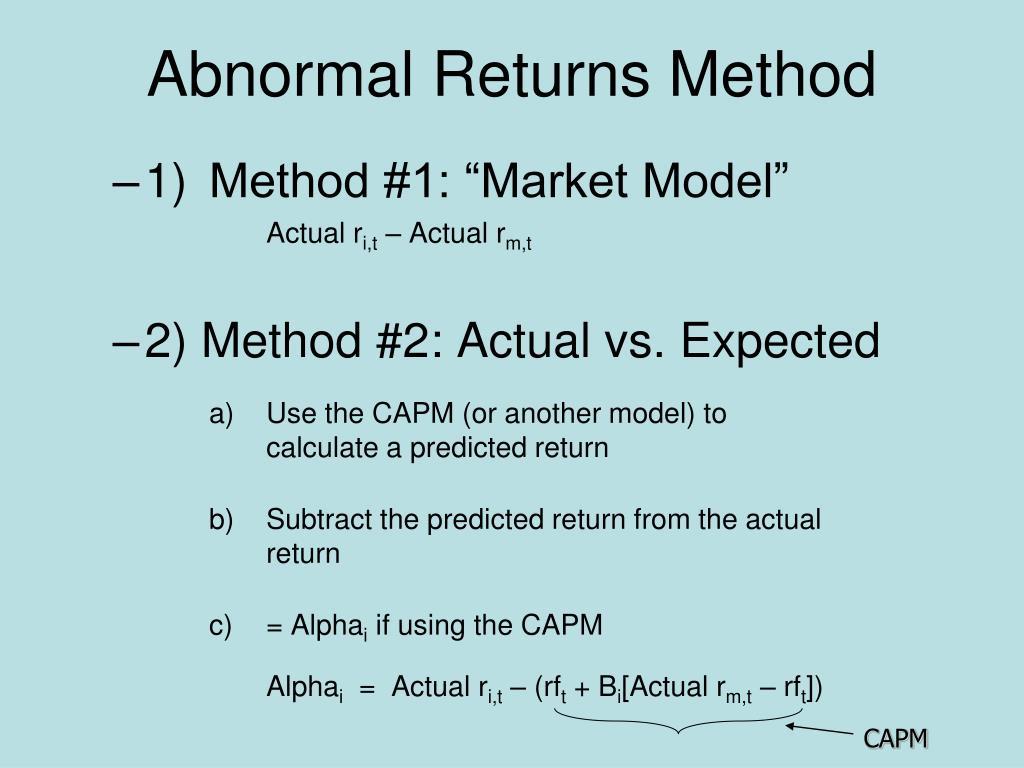 Abnormal Returns Method