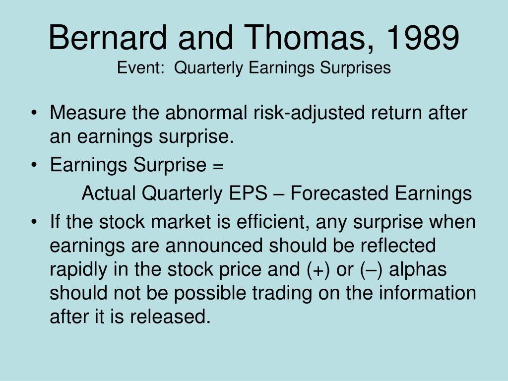 Bernard and Thomas, 1989