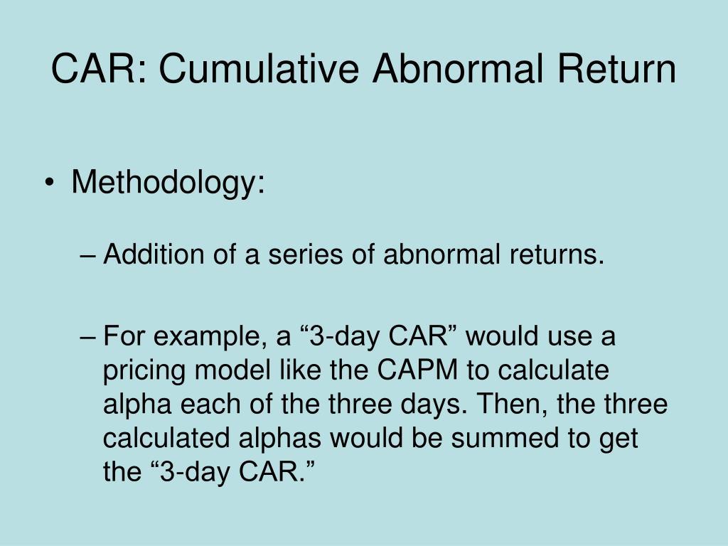 CAR: Cumulative Abnormal Return