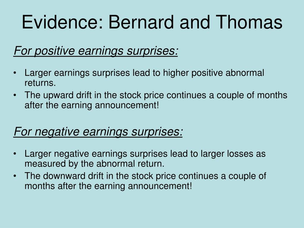 Evidence: Bernard and Thomas