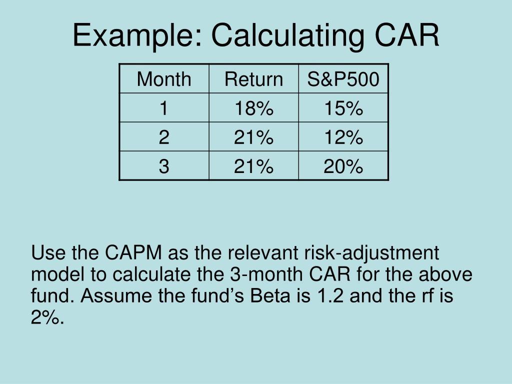 Example: Calculating CAR