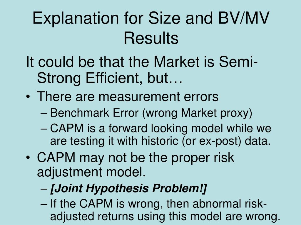 Explanation for Size and BV/MV Results